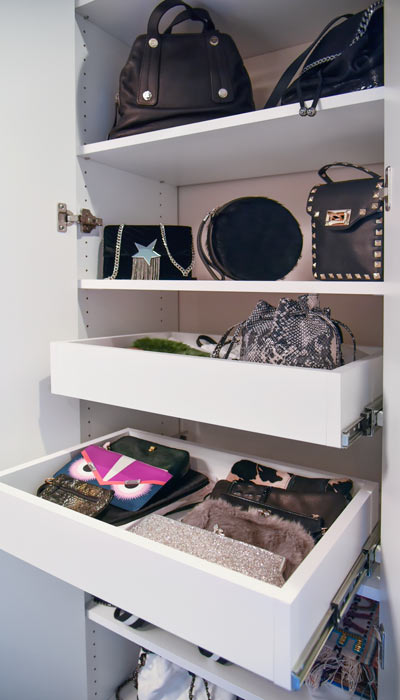 pull-out pantry shelves for purse and clutch organization