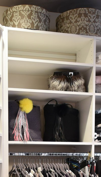 adjustable shelves for purse storage