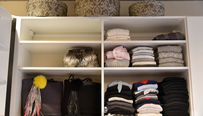 custom shelves for folded clothing and larger bags
