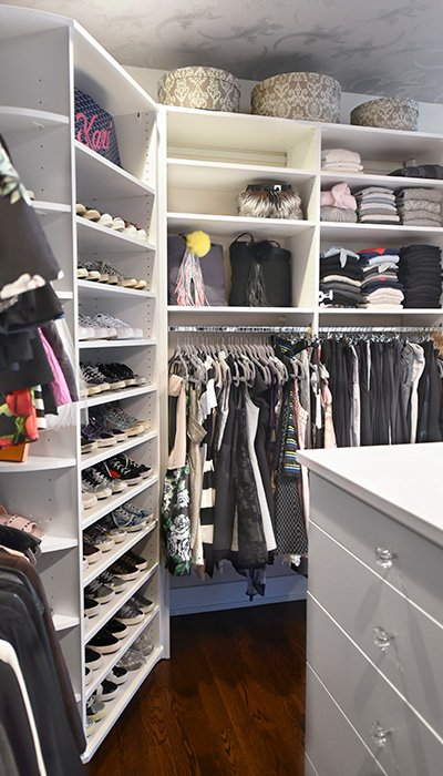 The shoe spinner increases closet storage in the corner of the closet