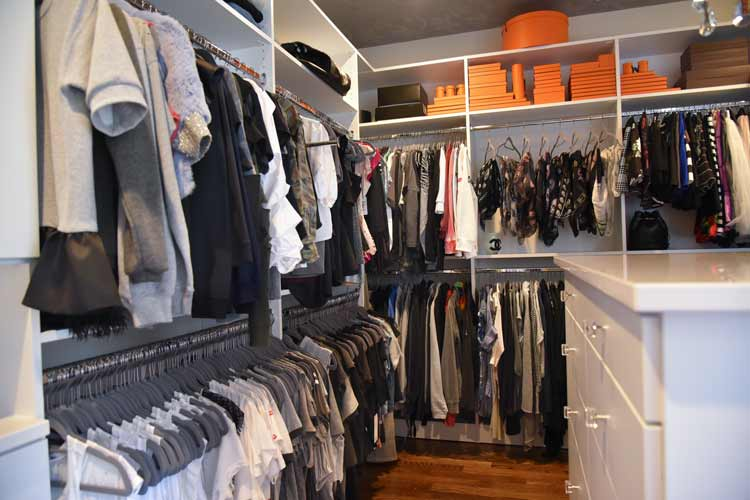fashionista closet with double hang clothing rods