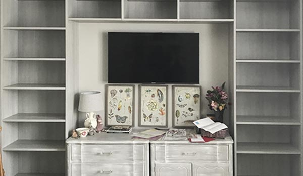 office wall unit designed to match credenza