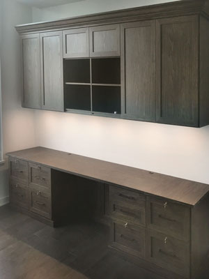 custom home office design with desktop lighting in sunday brunch laminate