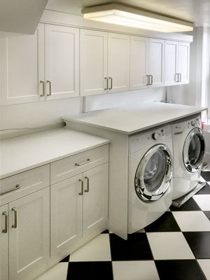 custom white laundry room design