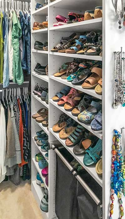 open closets need built ins to keep organized