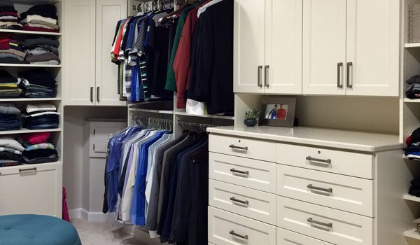 Custom walk-in closet ideas with hat organizer and closet shoe shelves