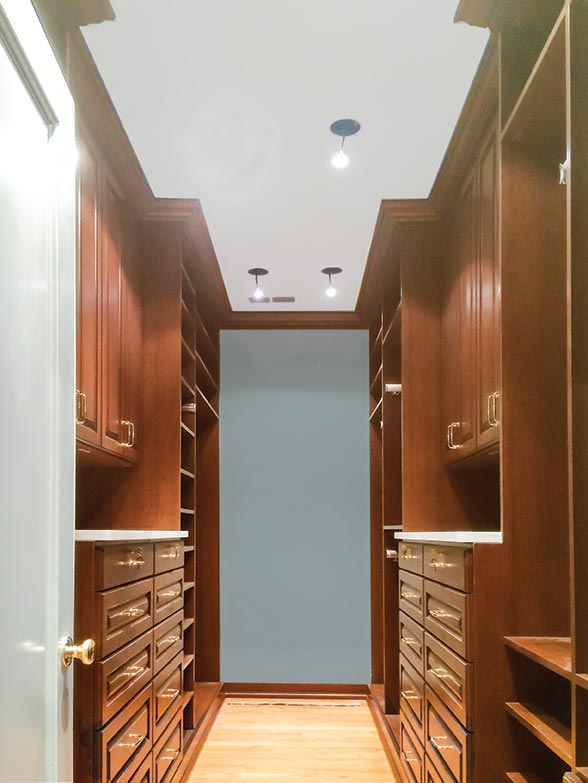 Walk-In closet system in Cherry Blossom - Solid wood door and drawer fronts with thermally fused laminate - TFL interior shelves and structural panels