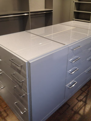 high gloss metallic silver dresser island