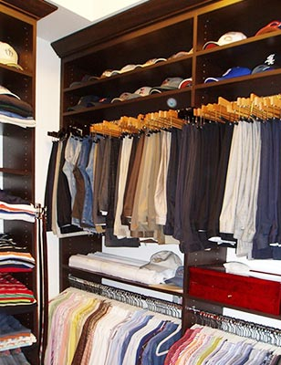 Custom closet organization system for men's clothing