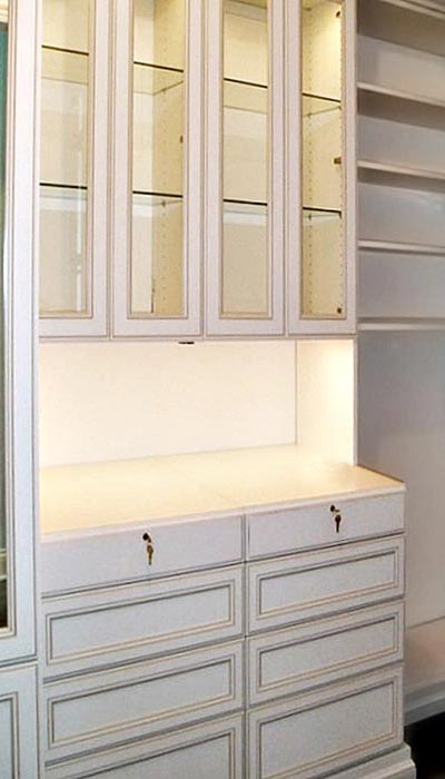custom closet hutch with Portabella doors