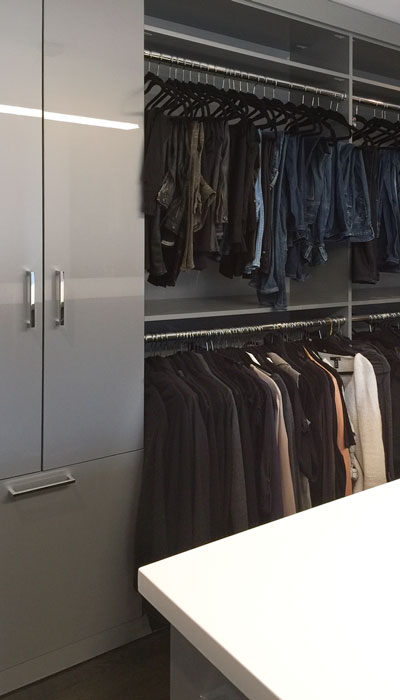 custom high gloss closet cabinets and hanging