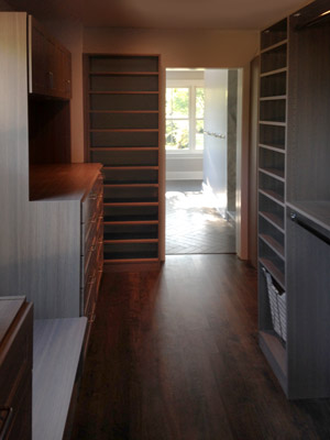 sunlight walk-in closet with essentials