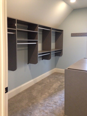 walk-in closet hanging rods, shelves, and hooks
