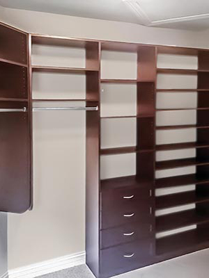 custom closet organization system in cocoa thermally fused laminate (TFL)