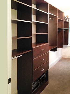 rich cocoa brown walk-in master closet system