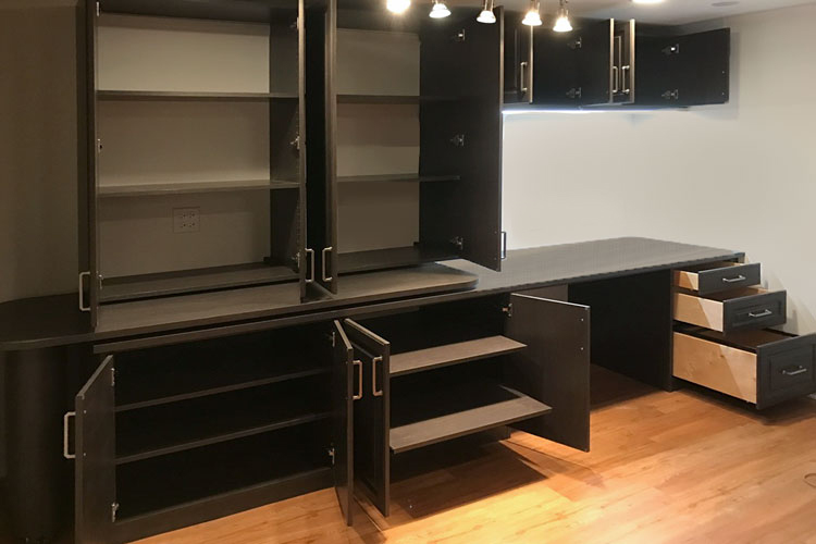 Home Office With Hidden Desk Wall Unit