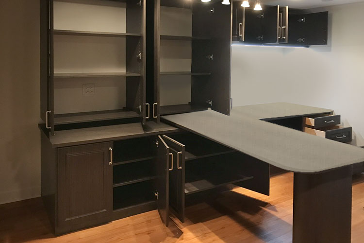 Custom home office desk lighting and storage with foldaway desk