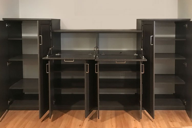 custom wall unit storage for guest room