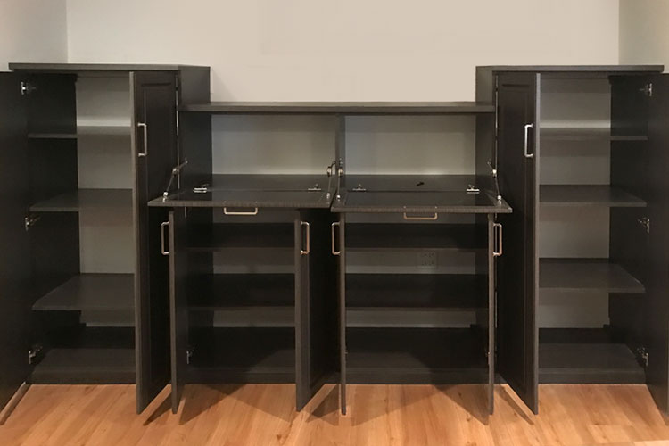 Wall unit storage system complements the custom home office desk