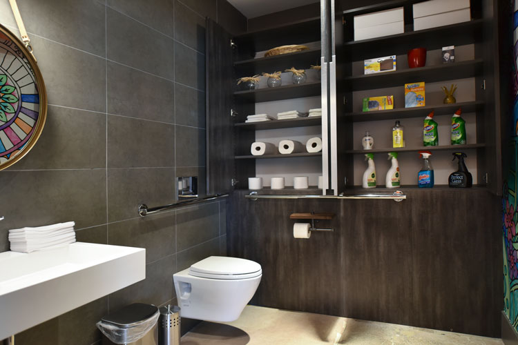 bathroom cabinets offer storage for cleaning products