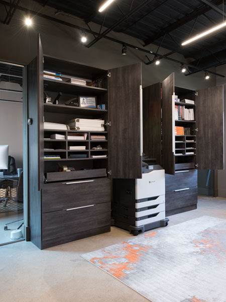 office cabinets with cubbies and pull out shelves
