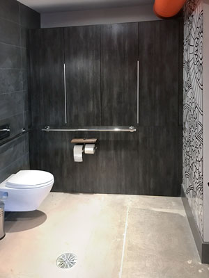 minimalist bathroom design with built in storage for a small bathroom