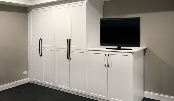 custom basement storage cabinets