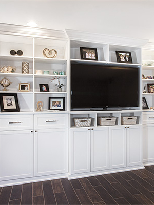 custom media center and wall unit organization system