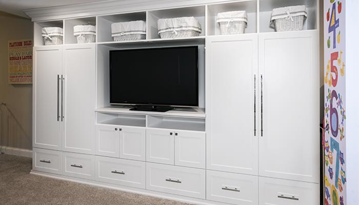 Play Room Storage And Media Center Wall Unit Organization