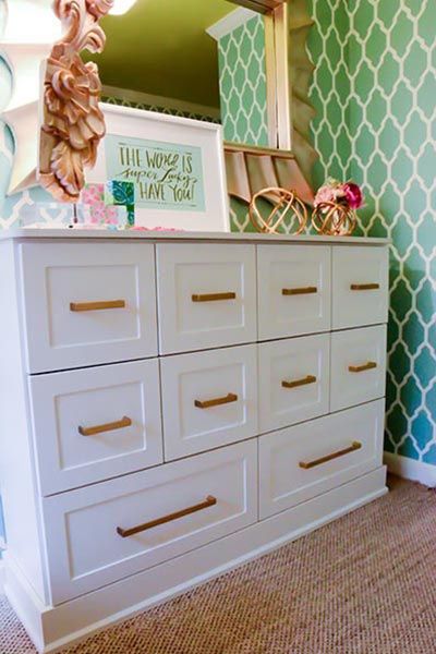 Custom dresser style storage piece for young woman's dressing room