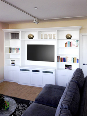 custom wall unit and media center a family room