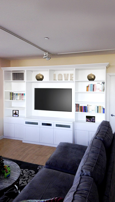 Custom wall unit storage system makes your home lively and welcoming
