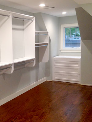 walk-in sloped ceiling closet solution