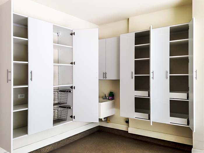 Garage System for Wet Location With Cabinets, Shelving and Pull-Out Organizers