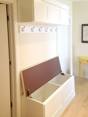 custom mud room with boot box view 2