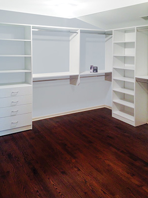 classic white walk-in closet organization system