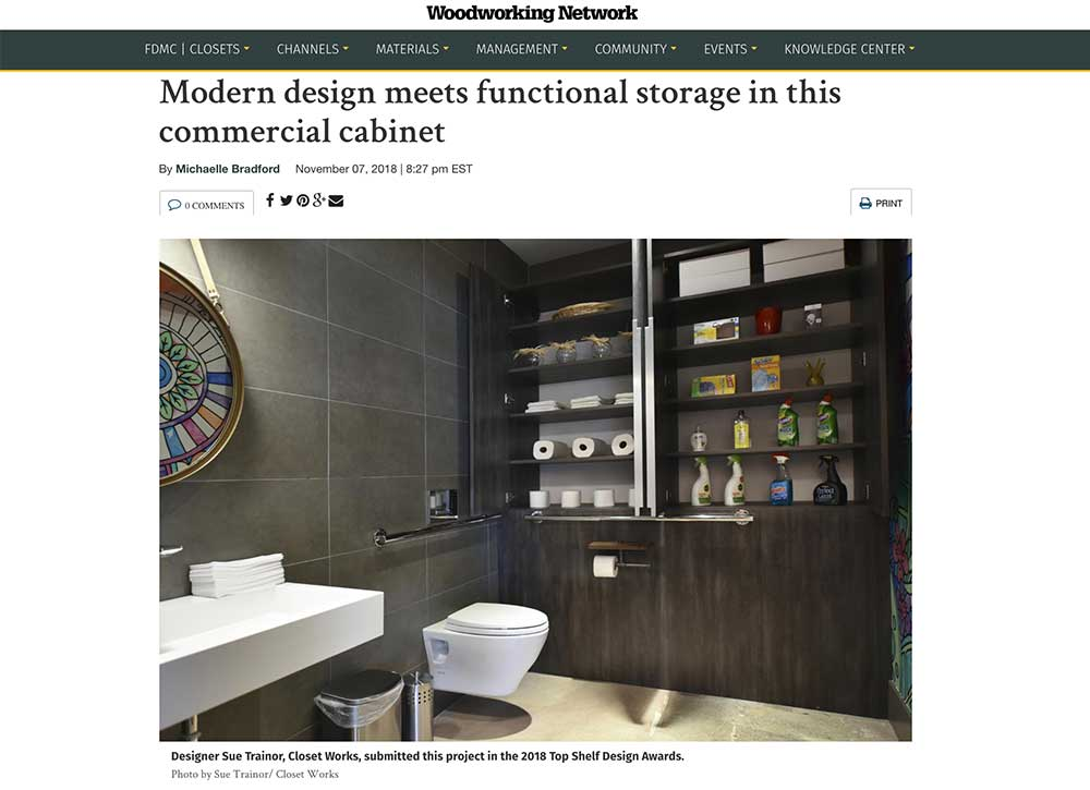 The bathroom cabinet opened to reveal storage possibilities