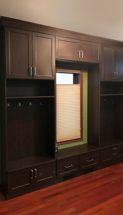 custom mudroom drawer and door fronts in regal
