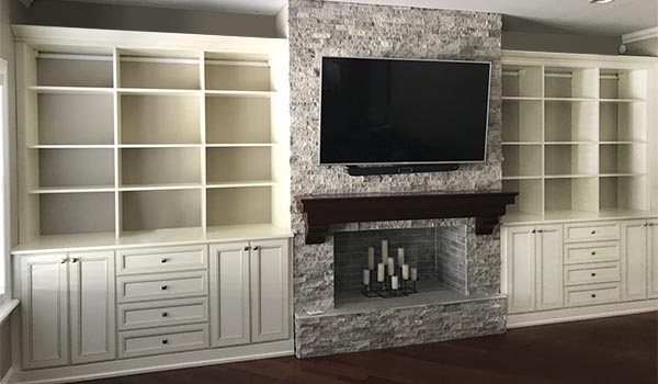 traditional style fireplace surround media center