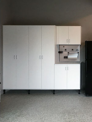 custom white garage cabinets