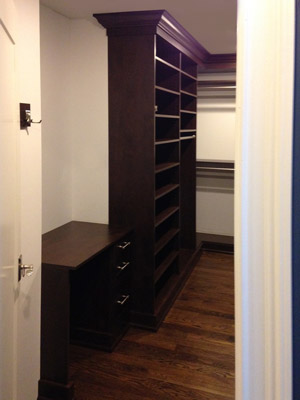 closet system with built-in vanity and shelving unit for shoes