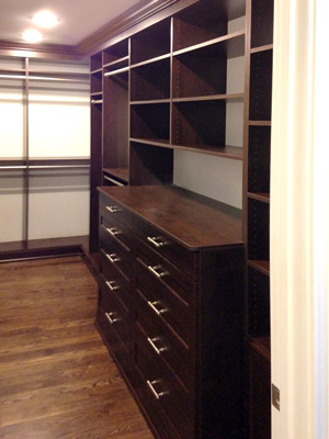 closet system with regal fronts and cocoa laminate