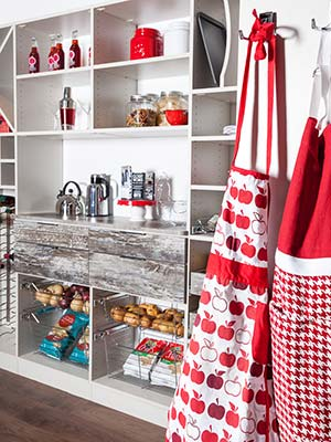 custom pantry with pull-out pantry shelves and pantry closet accessories