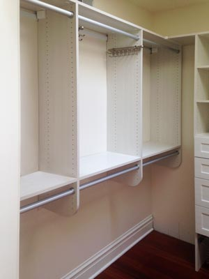 hanging rod and shelf closet