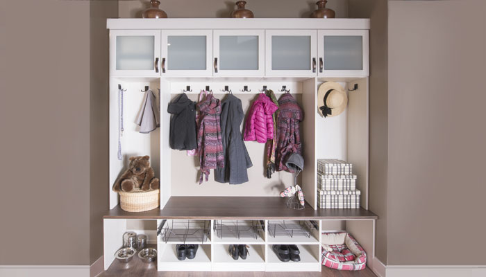 front view of mudroom organization system