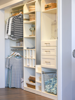 custom closet for tween with pull-out mirror and wire basket hamper