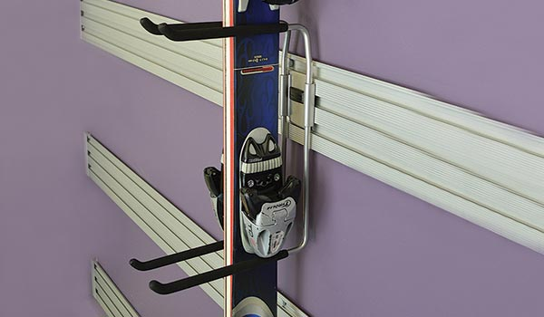 Garage accessories: Omni Track activity rack for skis, hockey sticks, snowboards and lacrosse