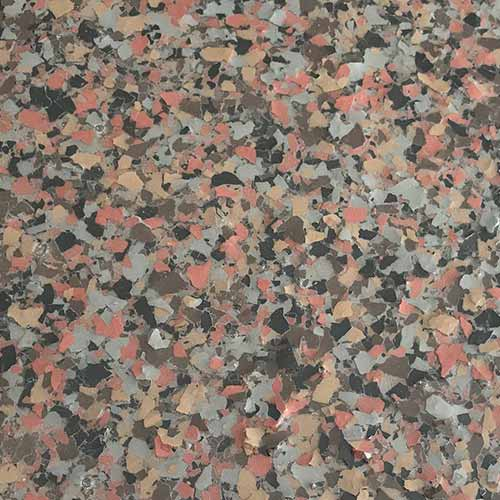 Professional grade epoxy floor system terrazzo blend color mix option