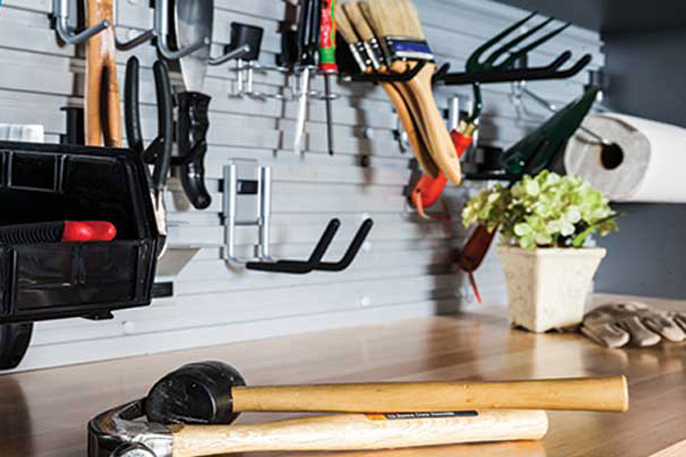 custom garage storage bins and hooks for tools