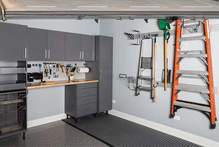 Custom Garage Cabinetry Tool Bench And Wall Storage System